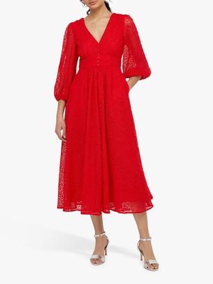 Monsoon Zinnia Lace Midi Dress, Red