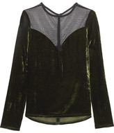 Lanvin Tulle-paneled Velvet Top - Army green