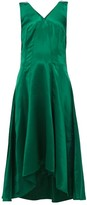 Sies Marjan Miriam Dip-hem Charmeuse Midi Dress - Womens - Dark Green