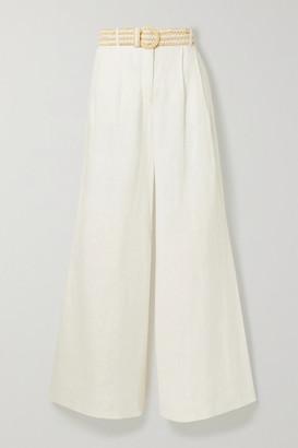 Zimmermann Amelie Belted Linen Wide-leg Pants - Ivory