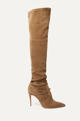 Jennifer Chamandi Alessandro 105 Suede Over-the-knee Boots - Beige