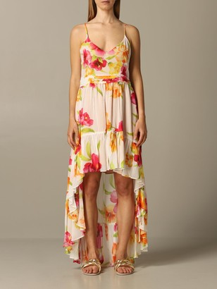 Twin-Set Long Dress With Hibiscus Print