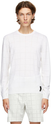 Fendi White Wool Punched Check Sweater