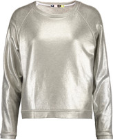 MSGM Metallic cotton-blend jersey sweatshirt
