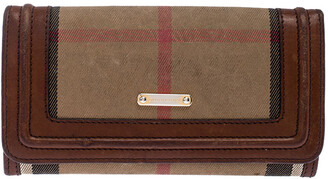 Burberry Beige/Brown Nova Check Canvas and Leather Flap Wallet