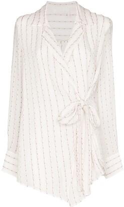 Chloé Striped Silk-Mousseline Wrap Top