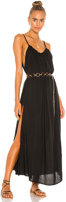 Indah Yasmine Solid Gathered Neckline Sundress Maxi