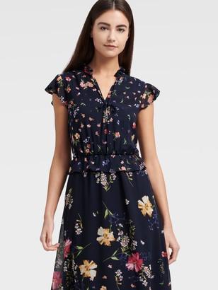 DKNY Women's High Neck Ruffle Tiered Midi Dress - Spring Navy Multi - Size 00