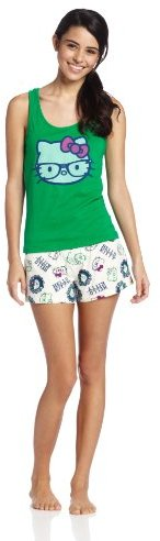 Hello Kitty Women?s Meow Mix Short GI Set, Green/Ivory, X-Large