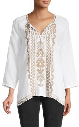 Johnny Was Tracy Linen Peasant Top