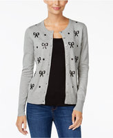 Charter Club Petite Sequined Bow Cardigan, Only at Macy's