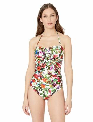 T Tahari Tahari Women's Wrap Shirred Bandeau One Piece Swimsuit