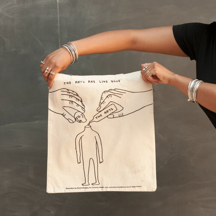 Thumbnail for your product : Plinth - David Shrigley Creative Health Tote Bag - The Arts Are Like Glue