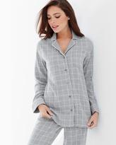Soma Intimates Essential Long Sleeve Cotton Pajama Top Plaid Metro Heather Gray