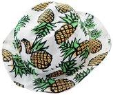 TONSEE Women Pineapple pattern Wide Rim Flat top fishing Bucket Hat