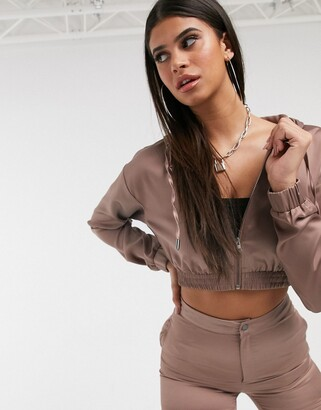 Daisy Street satin cropped jacket in taupe