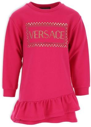 Versace Studded Diamante Logo Sweatshirt Dress (4-14 Years)