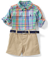 Ralph Lauren Baby Boys 3-24 Months Madras-Plaid Shirt & Solid Chino Shorts Set