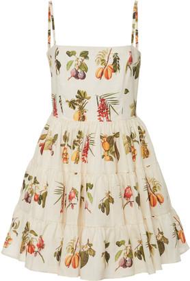 Agua Bendita Lima Frutas Printed Linen Mini Dress