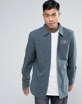 Vans Rosemont Patch Shirt In Grey Va2x655rw
