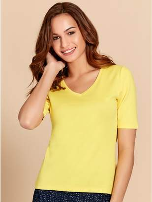 M&Co Plain half sleeve v neck t-shirt