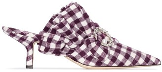 Midnight 00 checked 55mm crystal embellished mules