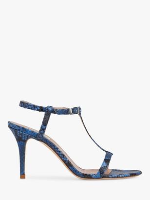 LK Bennett North T-Bar Stiletto Heel Sandals, Blue Reptile Print