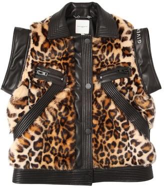 Givenchy Faux Fur & Faux Leather Vest