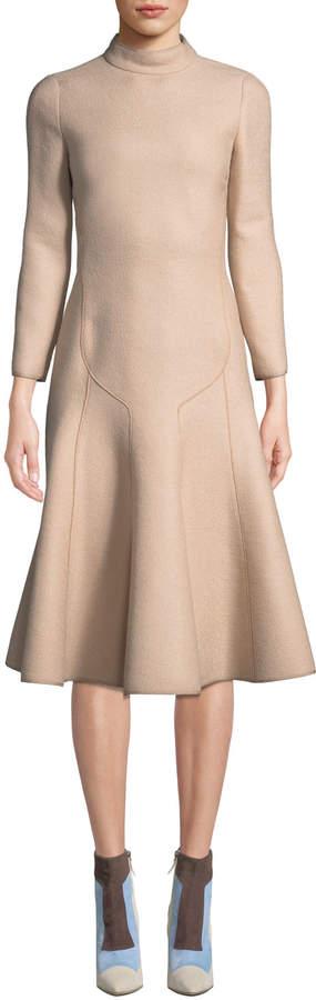 Long-Sleeve Mock-Neck A-Line Wool Crepe Midi Dress, Nude