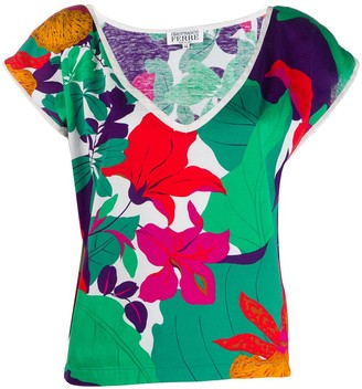Gianfranco Ferré Pre Owned 1980's floral print V-neck blouse