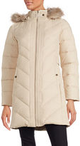 Larry Levine Faux Fur Hooded Down Coat