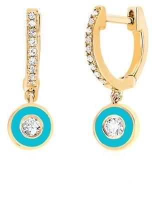 Ef Collection 14ct Yellow Gold And Diamond Enamel Drop Huggies