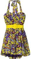 Terry Print Belted Halter Dress
