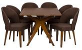 Baxton Studio Lucas Mid Century Style 7 Piece Dining Set - Walnut Brown