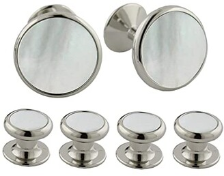 David Donahue Mother of Pearl and Brass Stud Set (Silver) Cuff Links