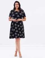 Bird Print Lace Dress