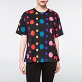 Paul Smith Women's Black Multi-Colour 'Spot' Print Cotton T-Shirt