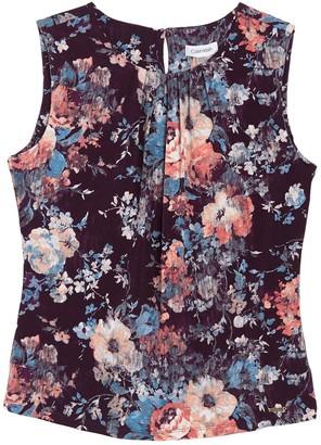 Calvin Klein Floral Pleated Neck Sleeveless Top