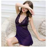 Acappella Sexy Lingerie Sets Sleepwear Chemise Nightgown Lace Babydoll Teddy Nightwear with G String Purple Small
