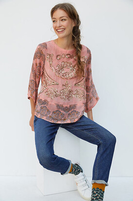 Anthropologie Ignacia Sheer Sequined Blouse By in Orange Size S