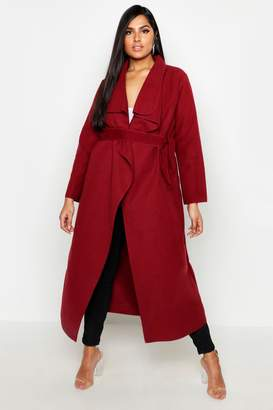 boohoo Plus Maxi Length Wool Look Wrap Coat