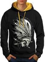 Native Indian Curse Skull Head Men NEW XL Contrast Hoodie | Wellcoda