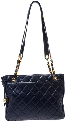 Chanel Navy Blue Quilted Leather Vintage Tote
