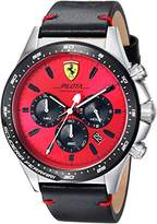 Ferrari Scuderia Men's 'PILOTA' Quartz Stainless Steel and Leather Casual Watch, Color:Black (Model: 0830387)
