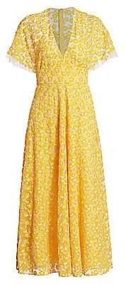 Lela Rose Women's Floral-Embroidered Midi Dress