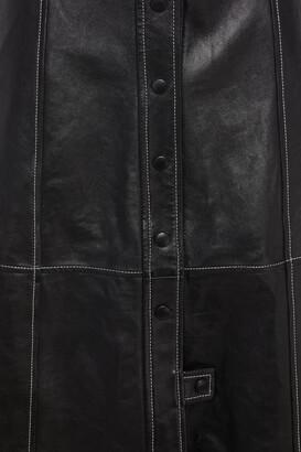 Ganni Flared Leather Midi Skirt