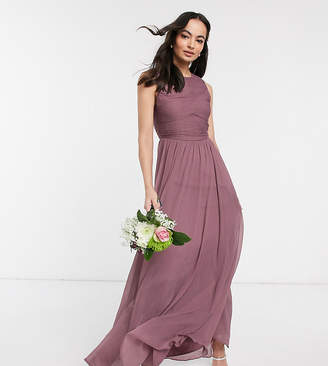 Asos Design DESIGN Bridesmaid maxi dress with soft pleated bodice-Purple