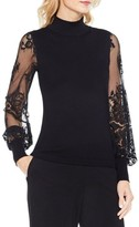 Vince Camuto Petite Women's Lace Sleeve Sweater