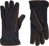 Barneys New York Men's Leather-Trim Gloves-GREY