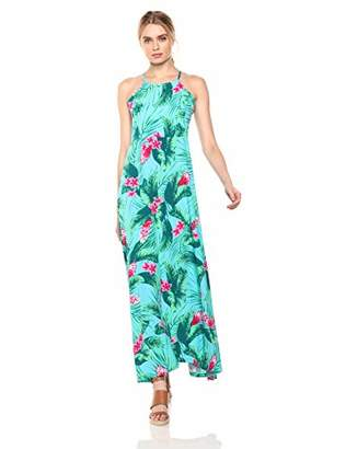28 Palms Tropical Hawaiian Print Halter Maxi Dress Casual, Aqua/Pink Ginger, XL